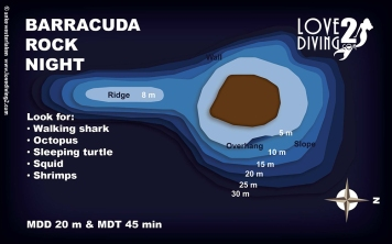 BARRACUDA ROCK NIGHT raja ampat dive map