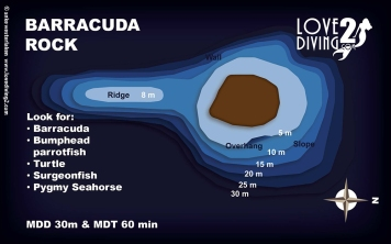 BARRACUDA ROCK raja ampat dive map