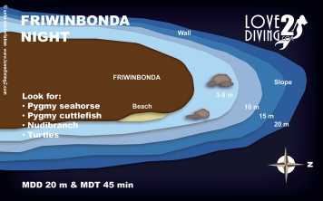 FRIWINBONDA NIGHT raja ampat dive map