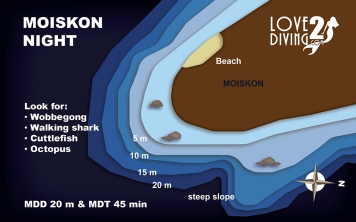 MOISKON NIGHT raja ampat dive map