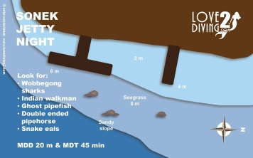 SONEK JETTY NIGHT raja ampat dive map