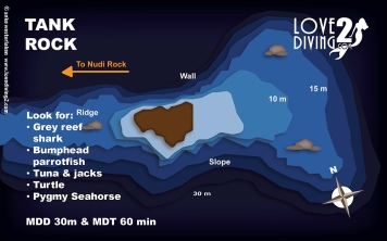 TANK ROCK raja ampat dive map